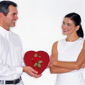 Man Offering Woman Valentine Chocolates